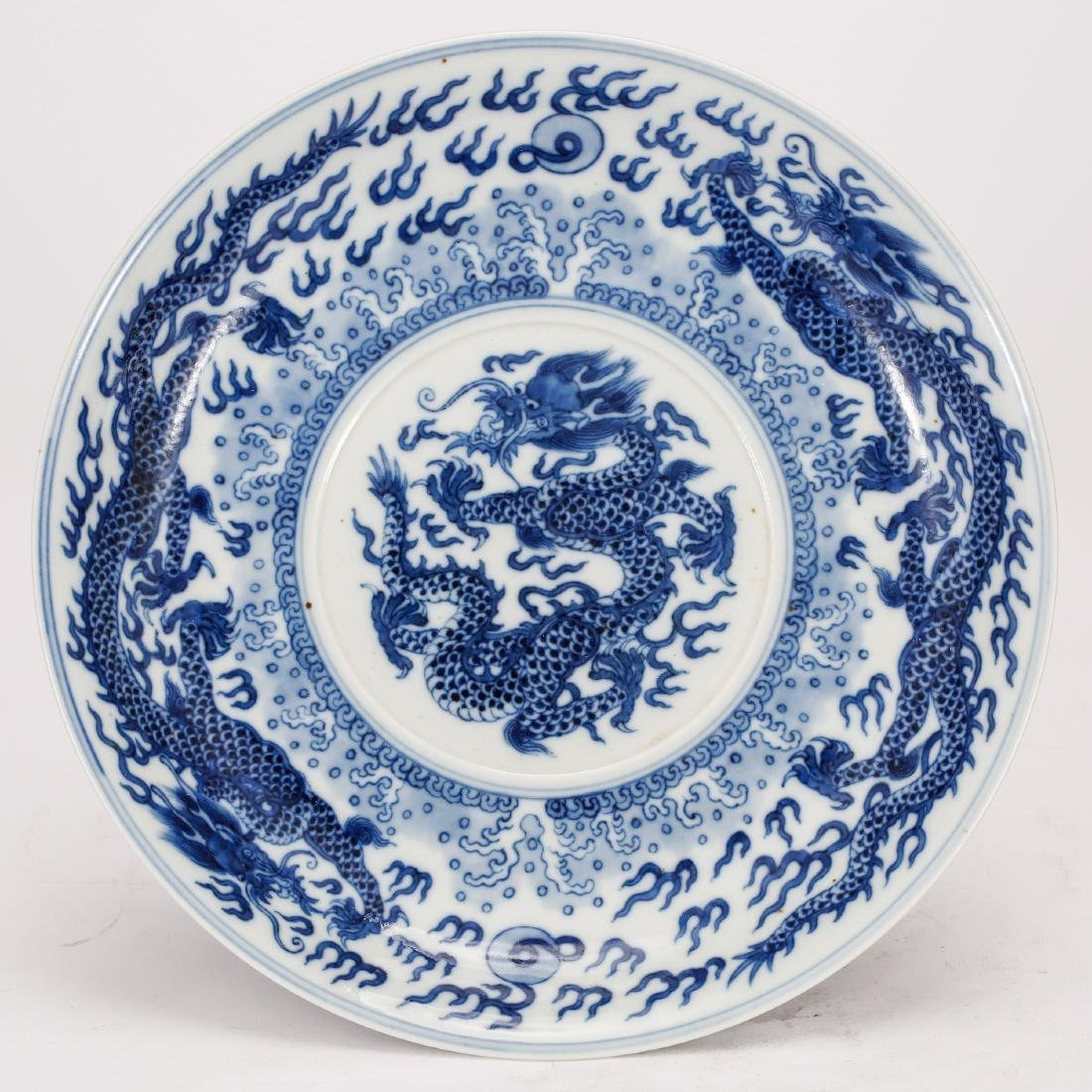 CHINESE BLUE AND WHITE ALTER PLATE - 2