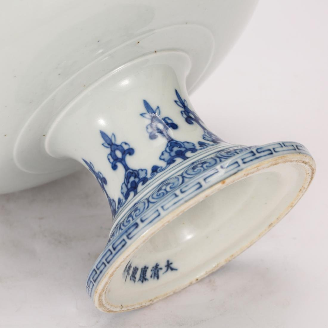 CHINESE BLUE AND WHITE ALTER PLATE - 5