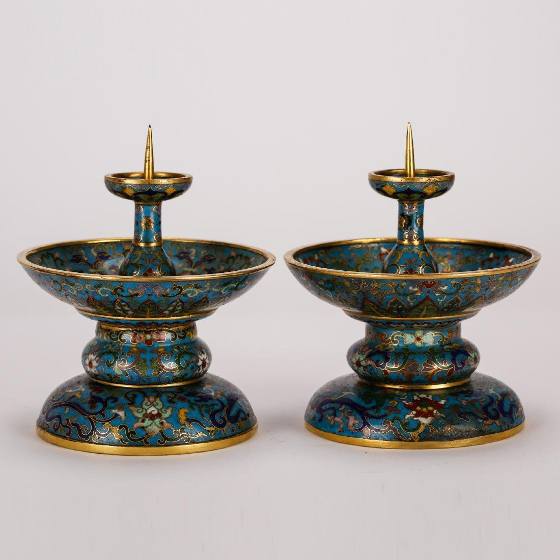 CHINESE CLOISONNE ENAMEL CANDLE STANDS, PAIR