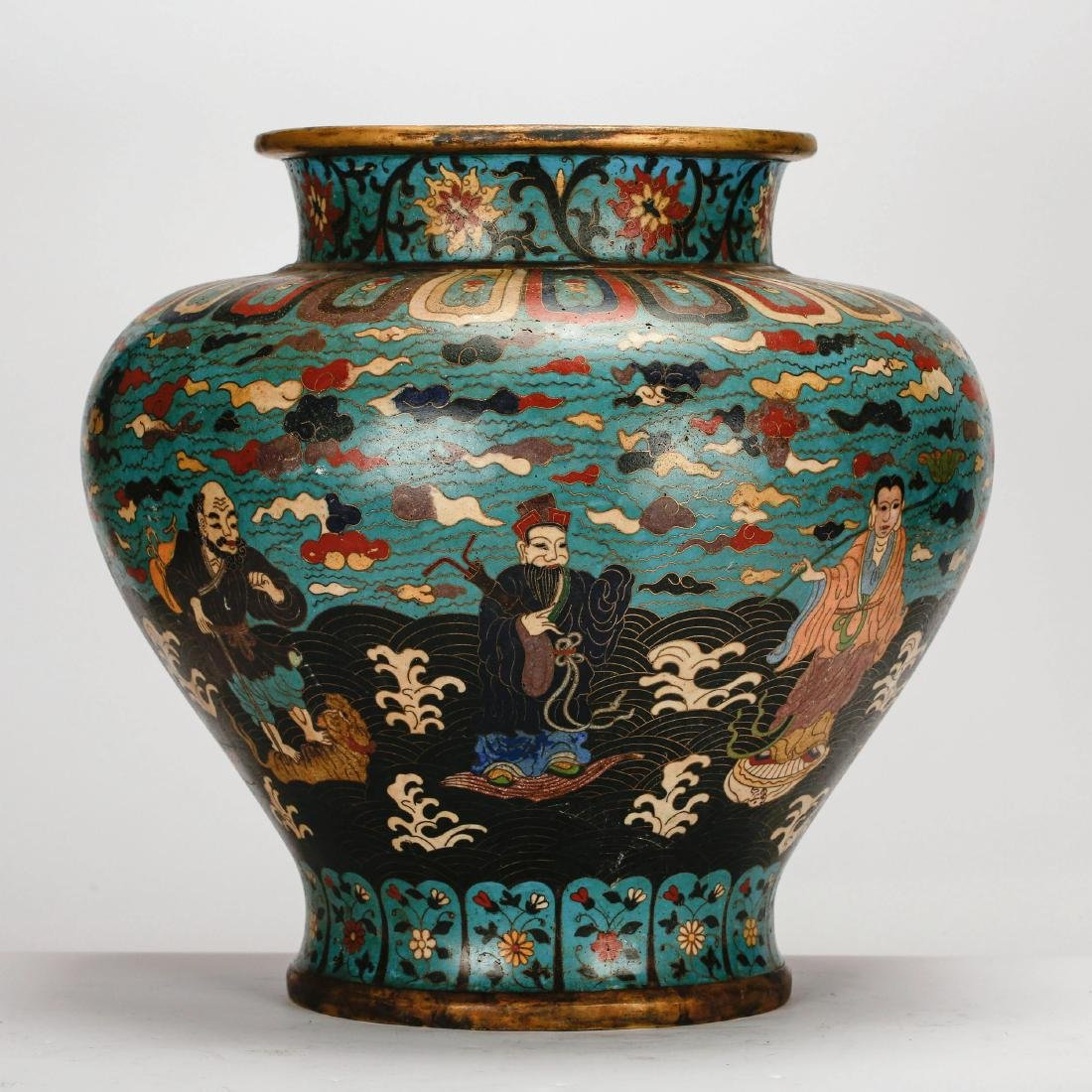 CHINESE CLOISONNE JAR WITH 8 IMMORTAL MOTIF