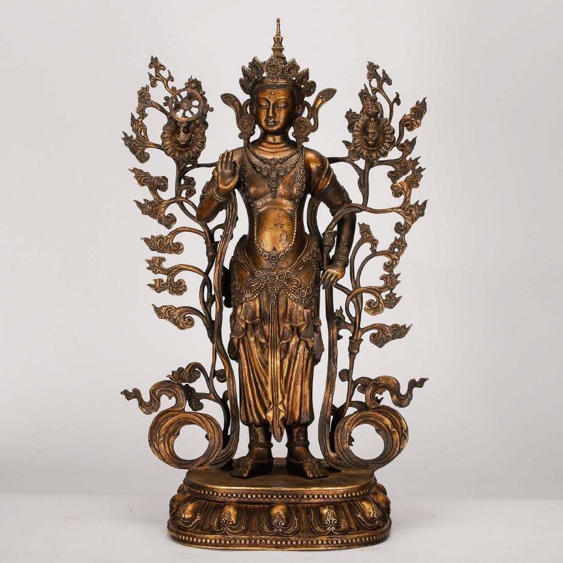 CHINESE GILT BRONZE STANDING GUANYIN