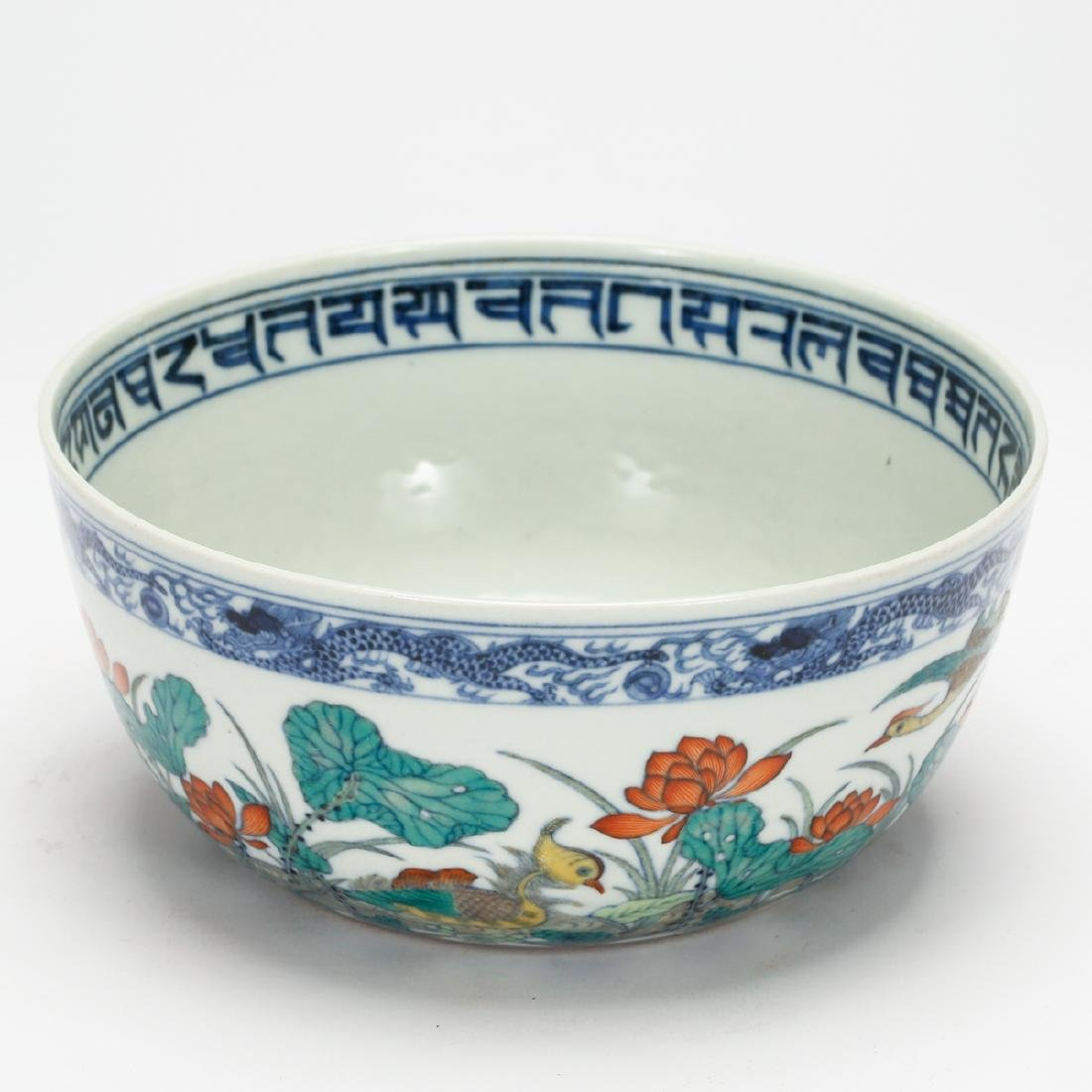 CHINESE BLUE AND WHITE DOUCAI BOWL