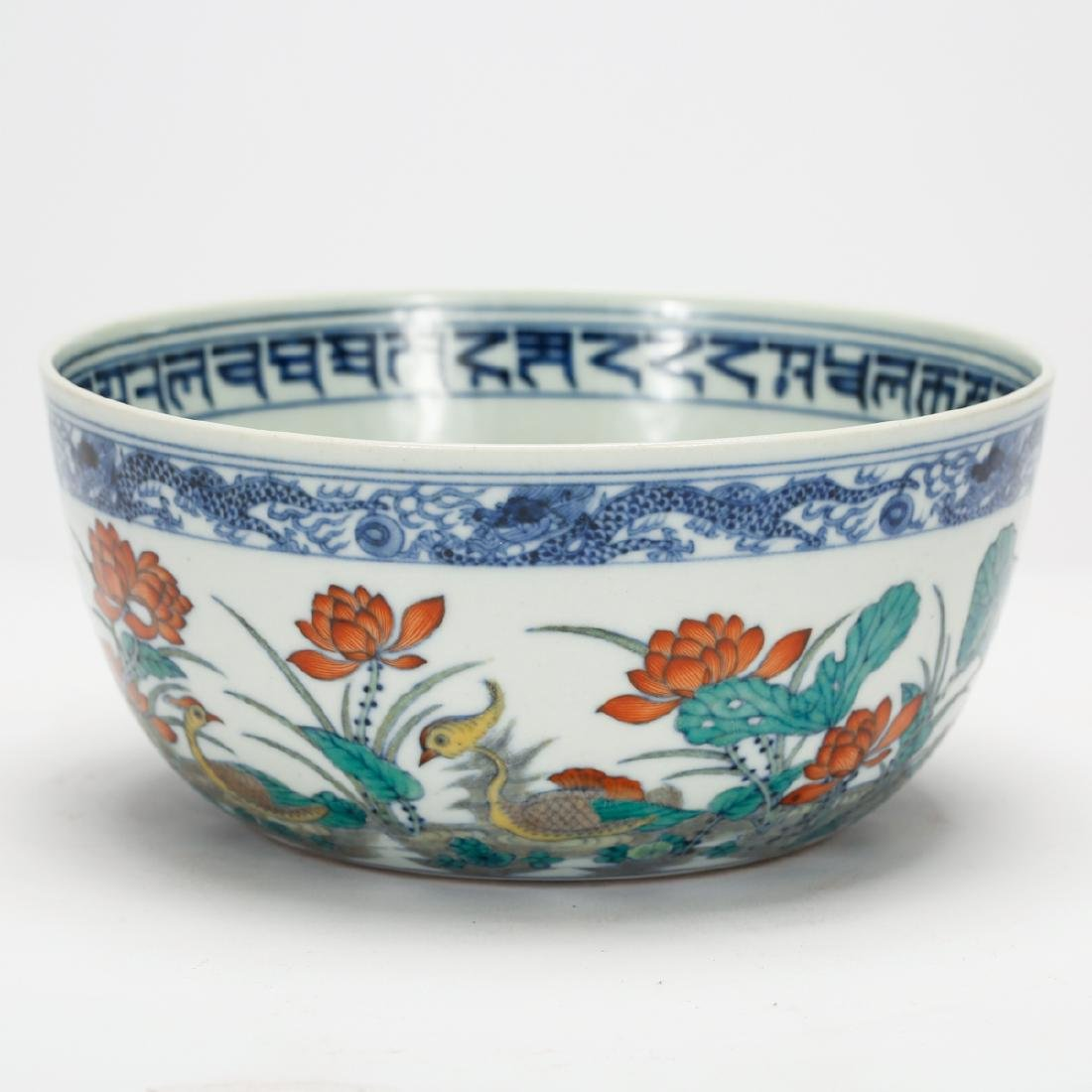 CHINESE BLUE AND WHITE DOUCAI BOWL - 2