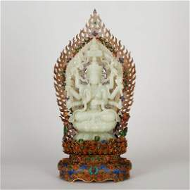 CHINESE GILT SILVER WIRE WITH JADE BUDDHA