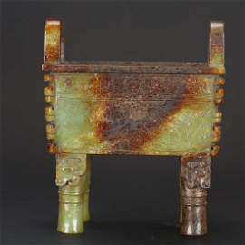 CHINESE ARCHAIC JADE DING VESSEL
