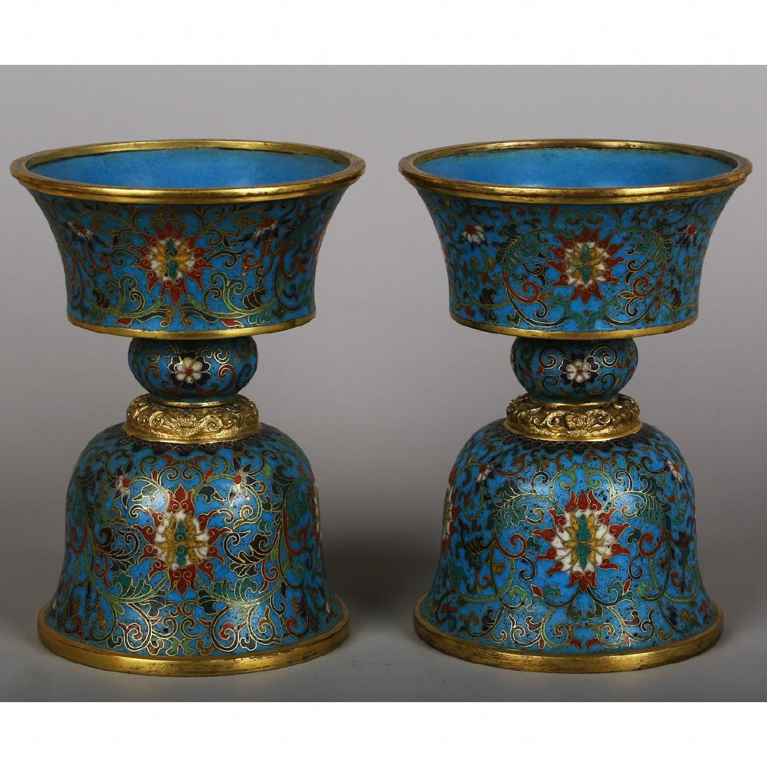 CHINESE PAIR OF CLOISONNE CANDLE STANDS