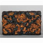 CHINESE HARDWOOD CARVED COVER BOX
