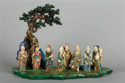 CHINESE 8 IMMORTALS SOAPSTONE CARVING