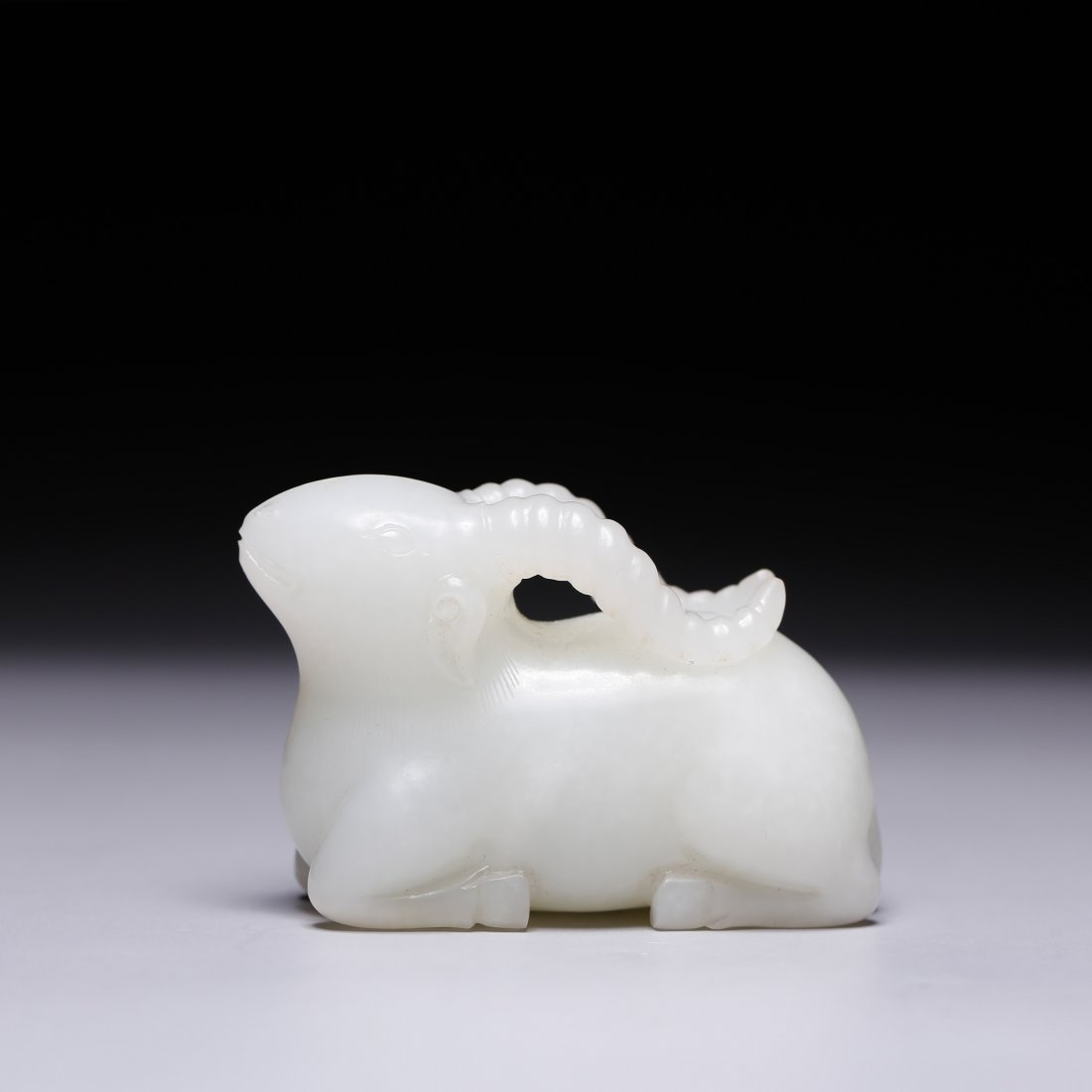 CHINESE WHITE JADE FIGURE OF RAM