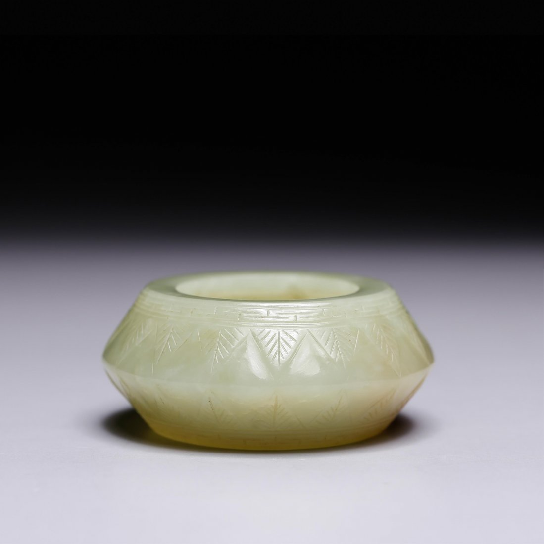 CHINESE YELLOW JADE CARVED WATER COUPE