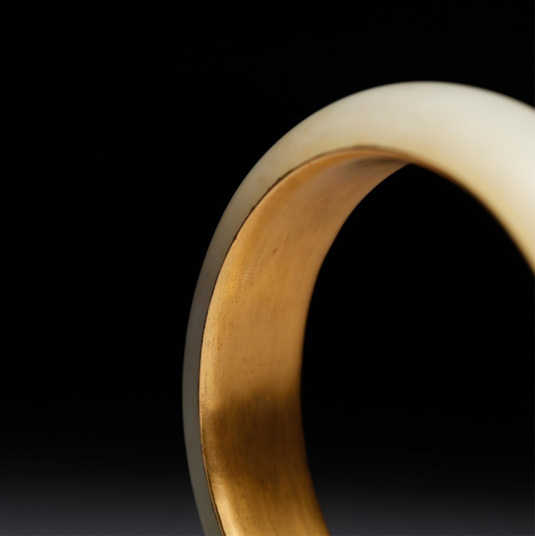 CHINESE GOLD AND YELLOW JADE BANGLE - 5