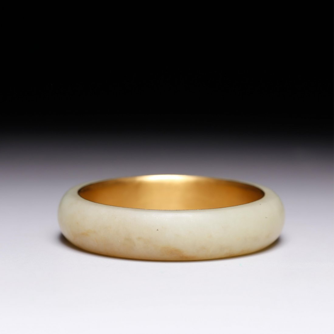 CHINESE GOLD AND YELLOW JADE BANGLE - 9