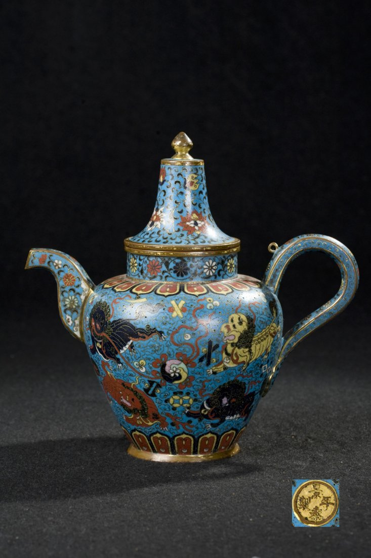 CHINESE CLOISONNE TEA POT WITH MARK