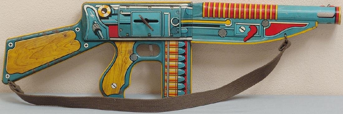 Vintage 1940s Tin Toy Machine Gun by Unique Art