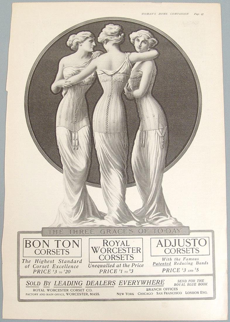 "1909 ""Three Graces"" Ad - Royal Worcester Corsets"