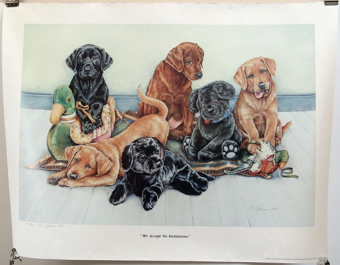 S/N 1994 K. M. Hoffman Print - Lots of Puppies!