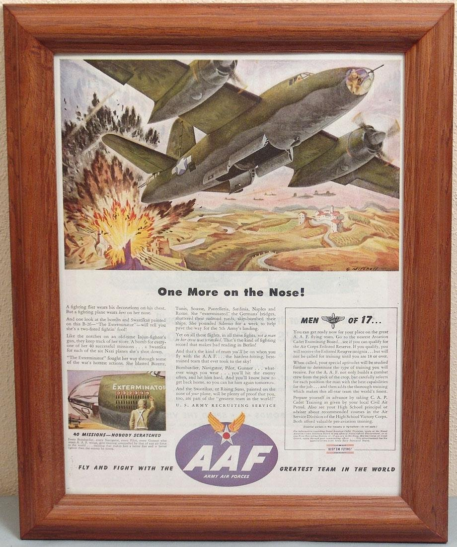 Framed 1940s WWII USAAF Recruiting Ad