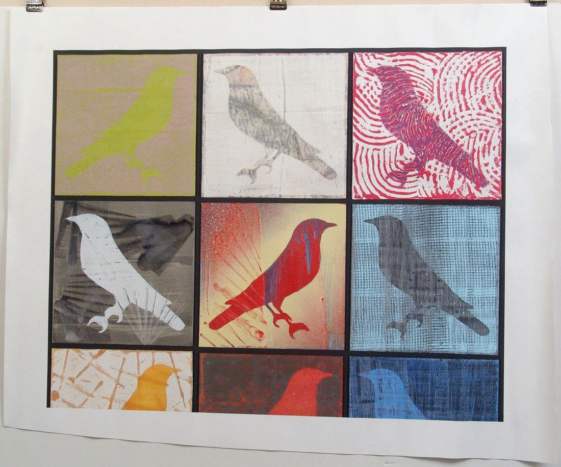 Large Original Screen Print - Bird-Crazy