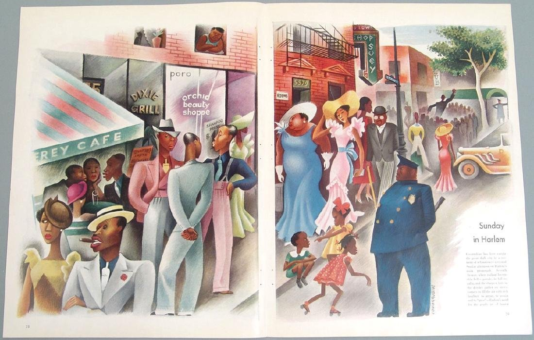 "Antique 1935 Print - ""Sunday in Harlem"""
