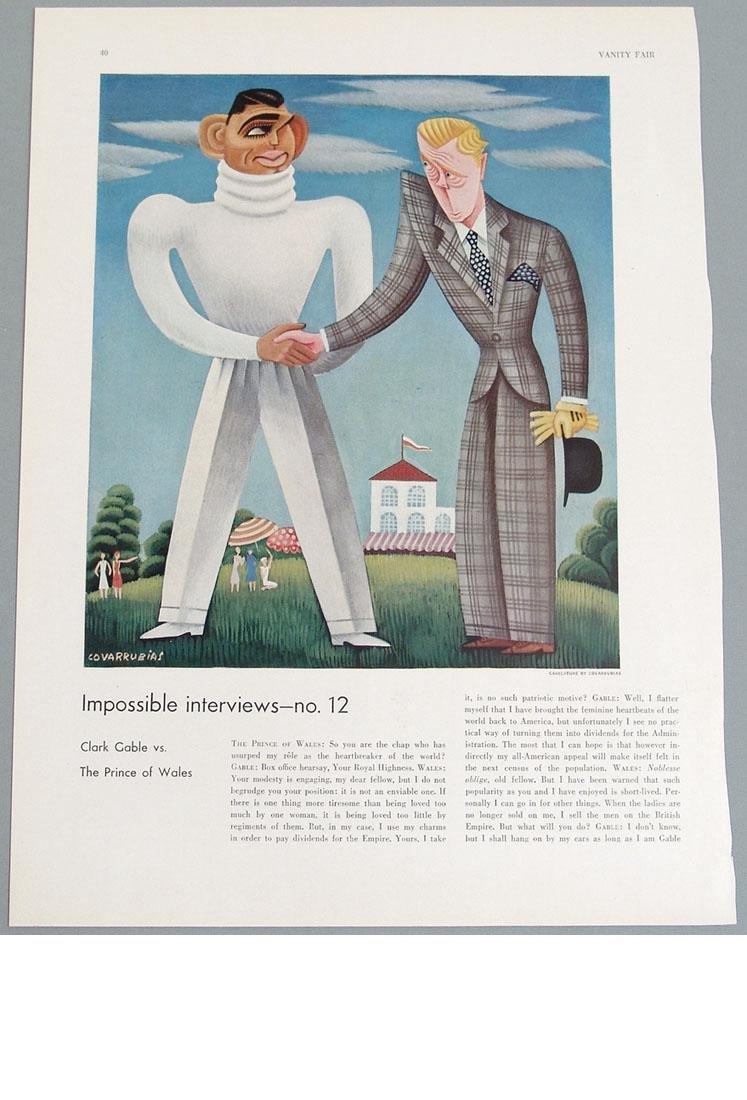 Antique 1932 Caricature Print of Clark Gable