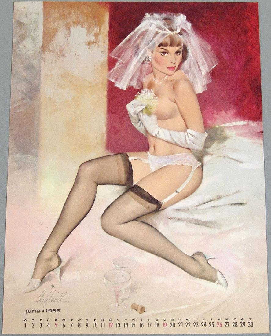 Nude Bride Pin-Up Calendar Page by Fritz Willis