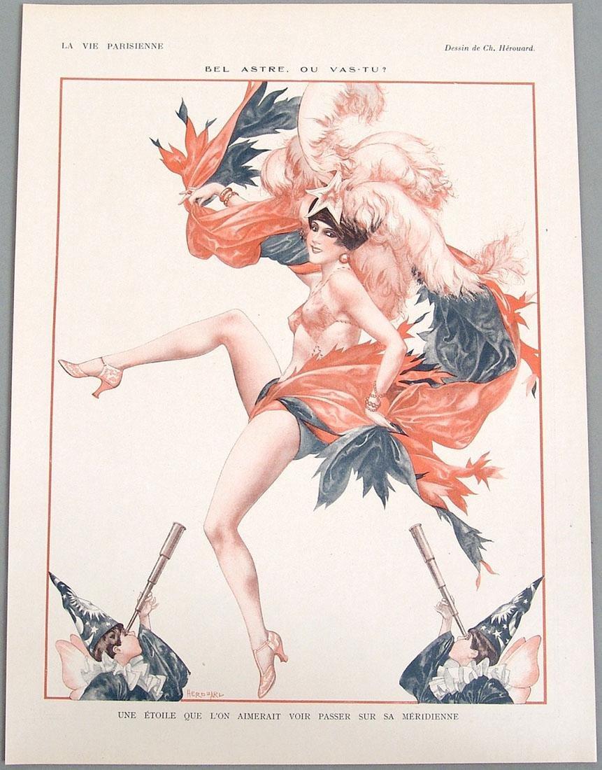 """Antique 1926 Art Deco """"La Vie Parisienne"""" Print"""
