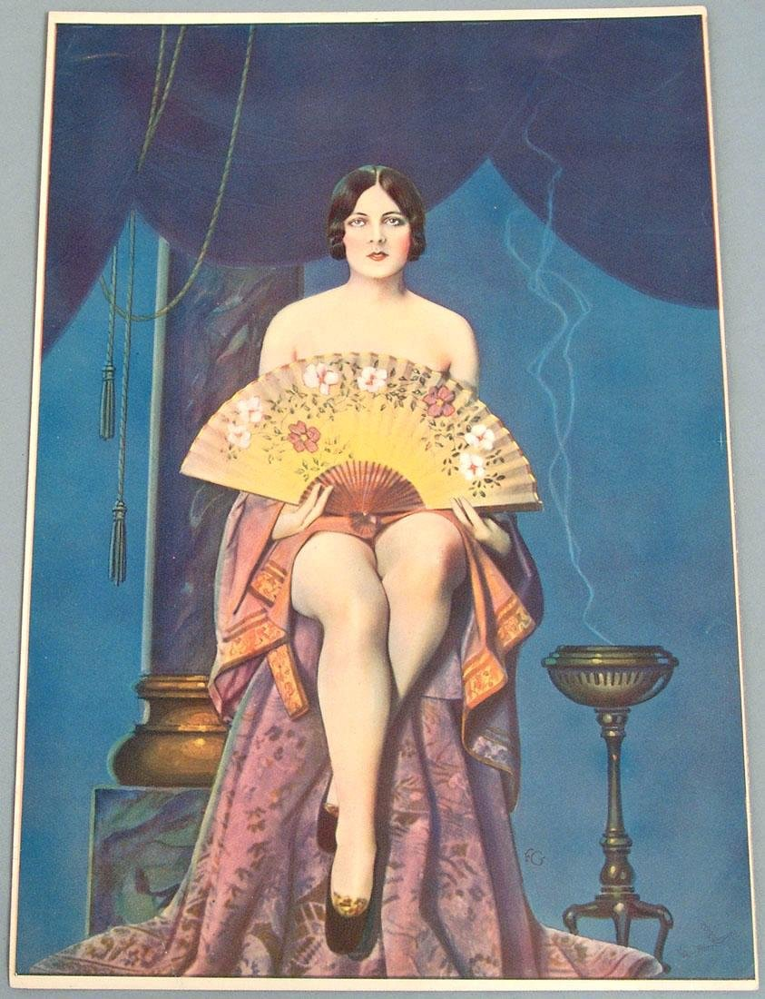 Rare Antique Spanish Girl Pin-Up Print