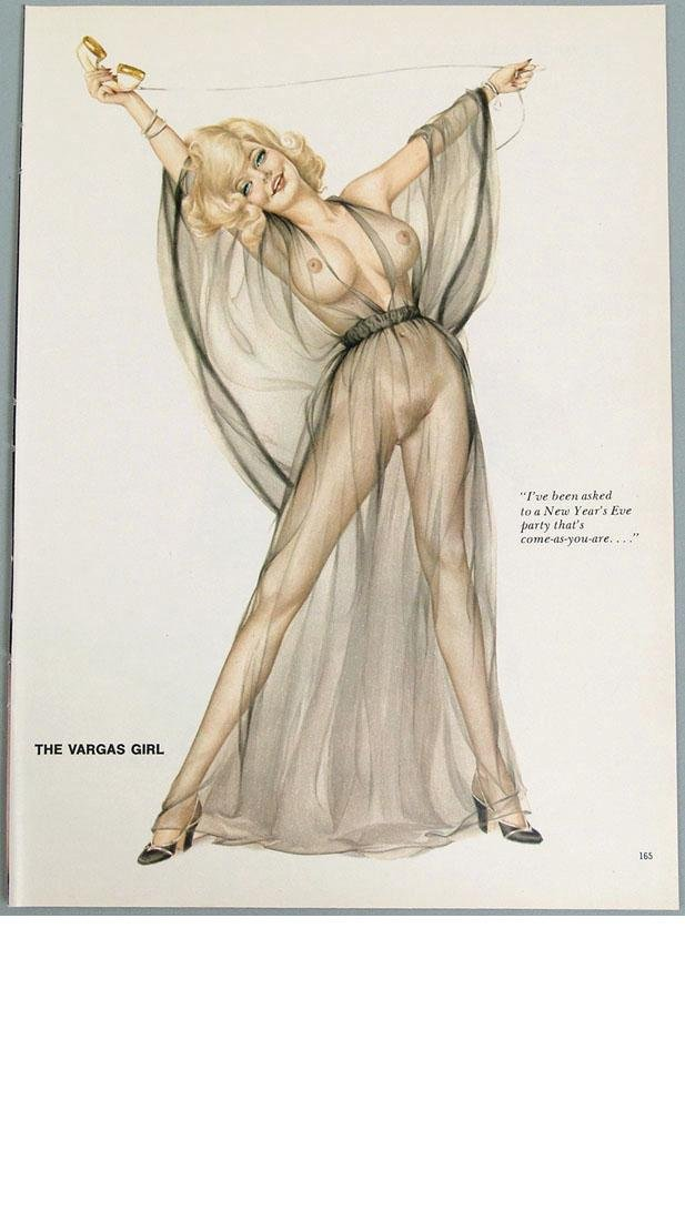 Vintage 2-Sided Nude Playboy Pin-Up by Alberto Vargas