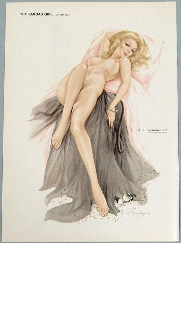 Vintage 2-Sided Nude Playboy Pin-Up by Alberto Vargas - 2