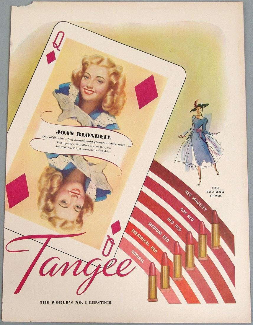 1940s Tangee Lipstick Ad with Joan Blondell