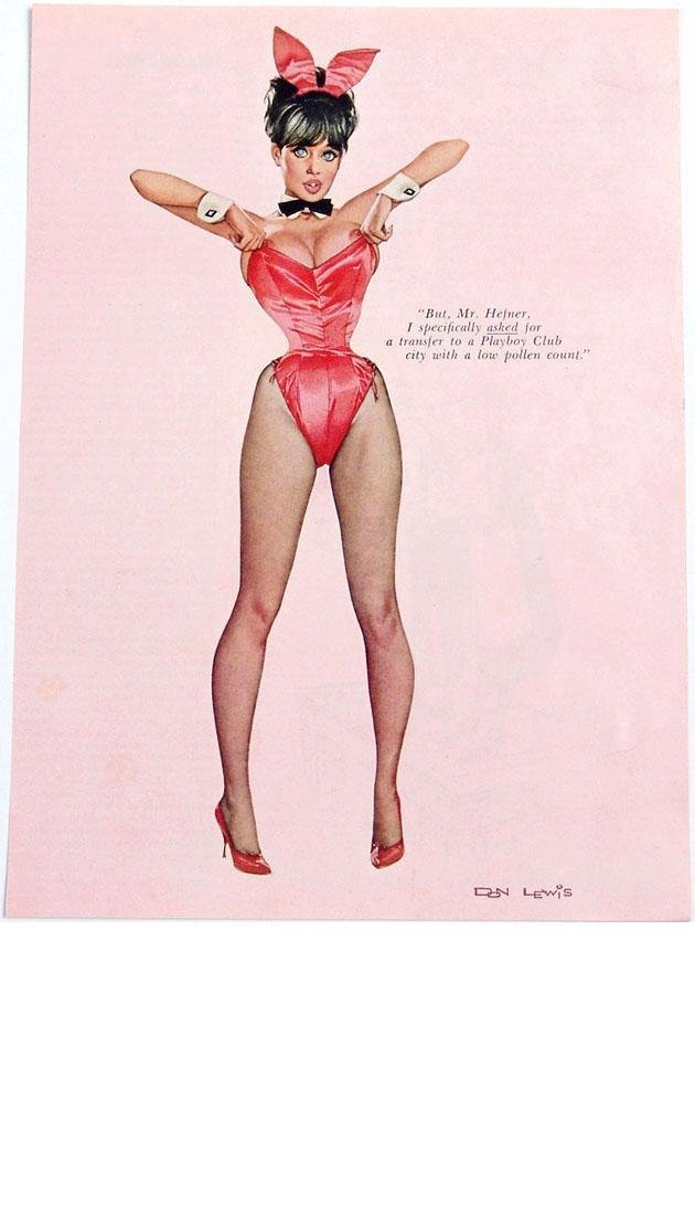 Vintage 1960s Risque Playboy Bunny Pin-Up by Don Lewis