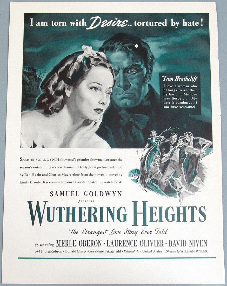 """Vintage Ad for """"Wuthering Heights"""" - Oberon, Olivier"""