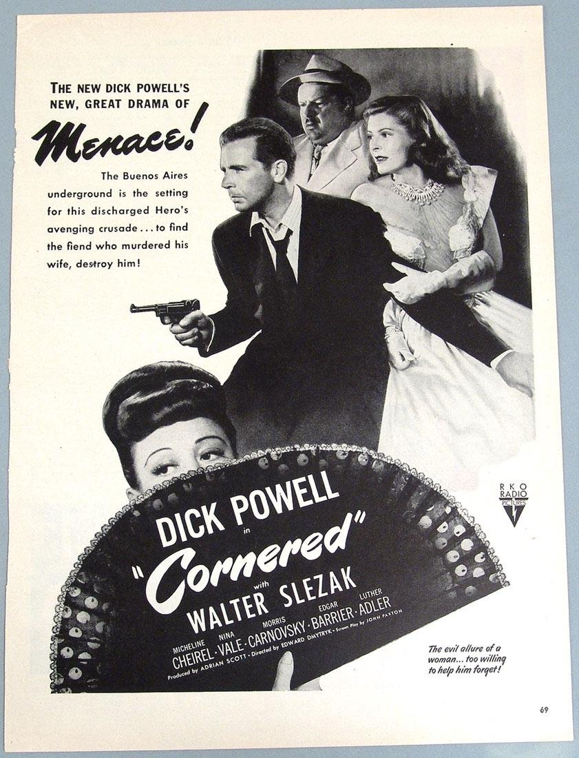 "Vintage Ad for the Movie Noir ""Cornered"" - Dick Powell"