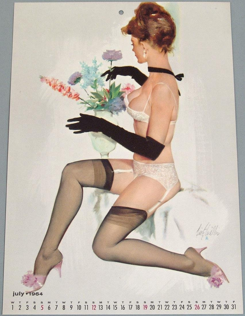 Risque Pin-Up Calendar Page by Fritz Willis