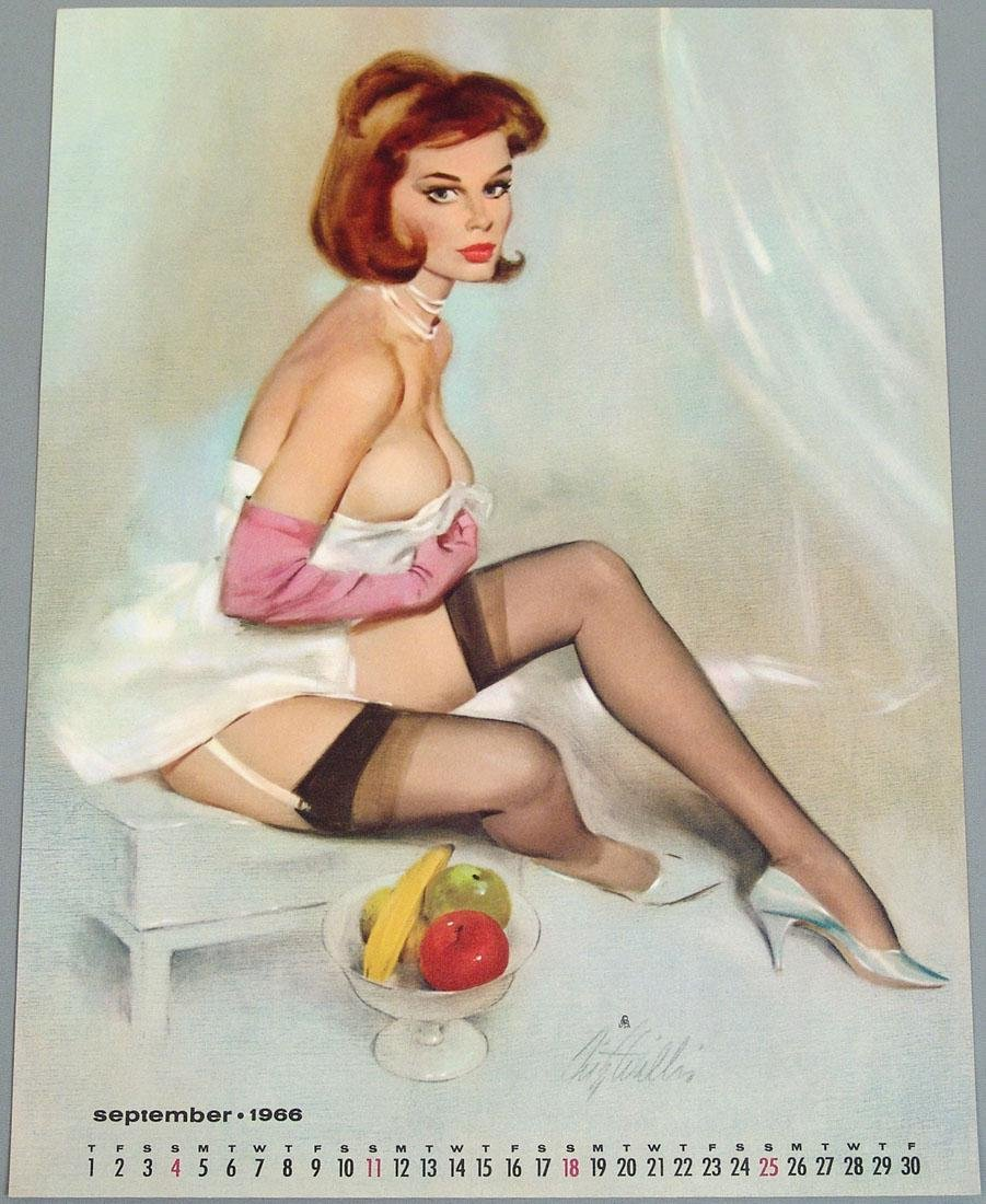 Nude Pin-Up Calendar Page by Fritz Willis