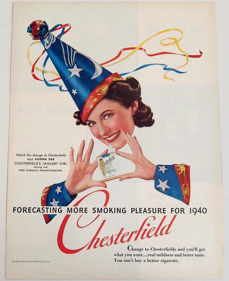 Antique 1940 Chesterfield Cigarette Advertisement
