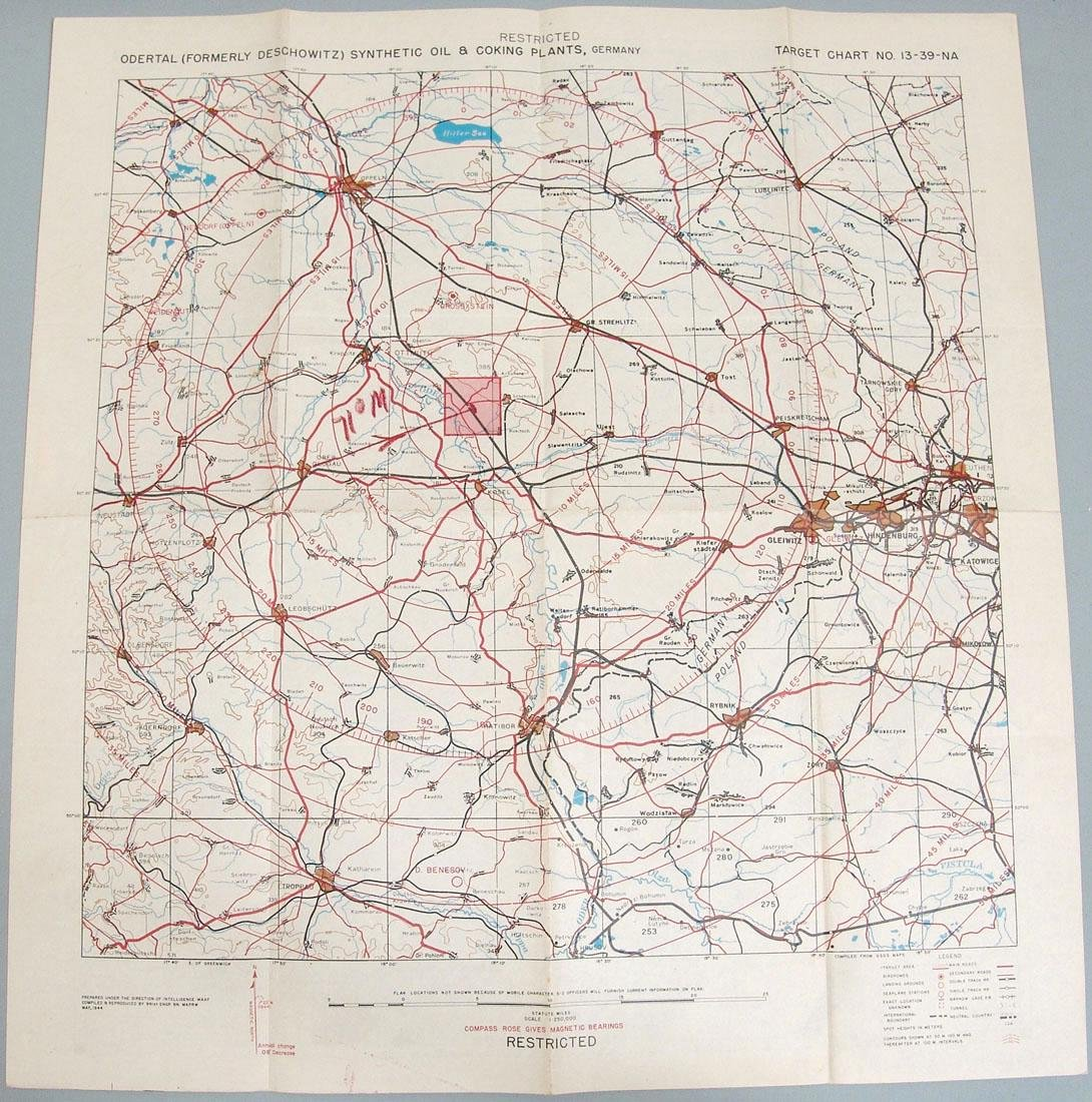 Original 1944 WWII USAAF Europe Bombing Map - Germany