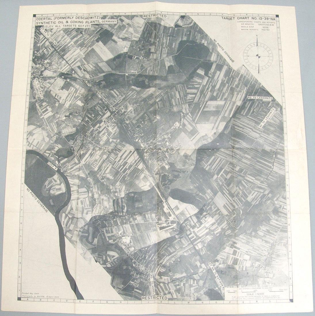Original 1944 WWII USAAF Europe Bombing Map - Germany - 2