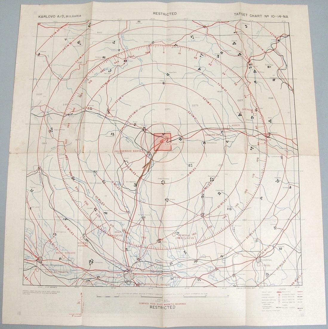 Original 1944 WWII Allied Bombing Map - Bulgaria
