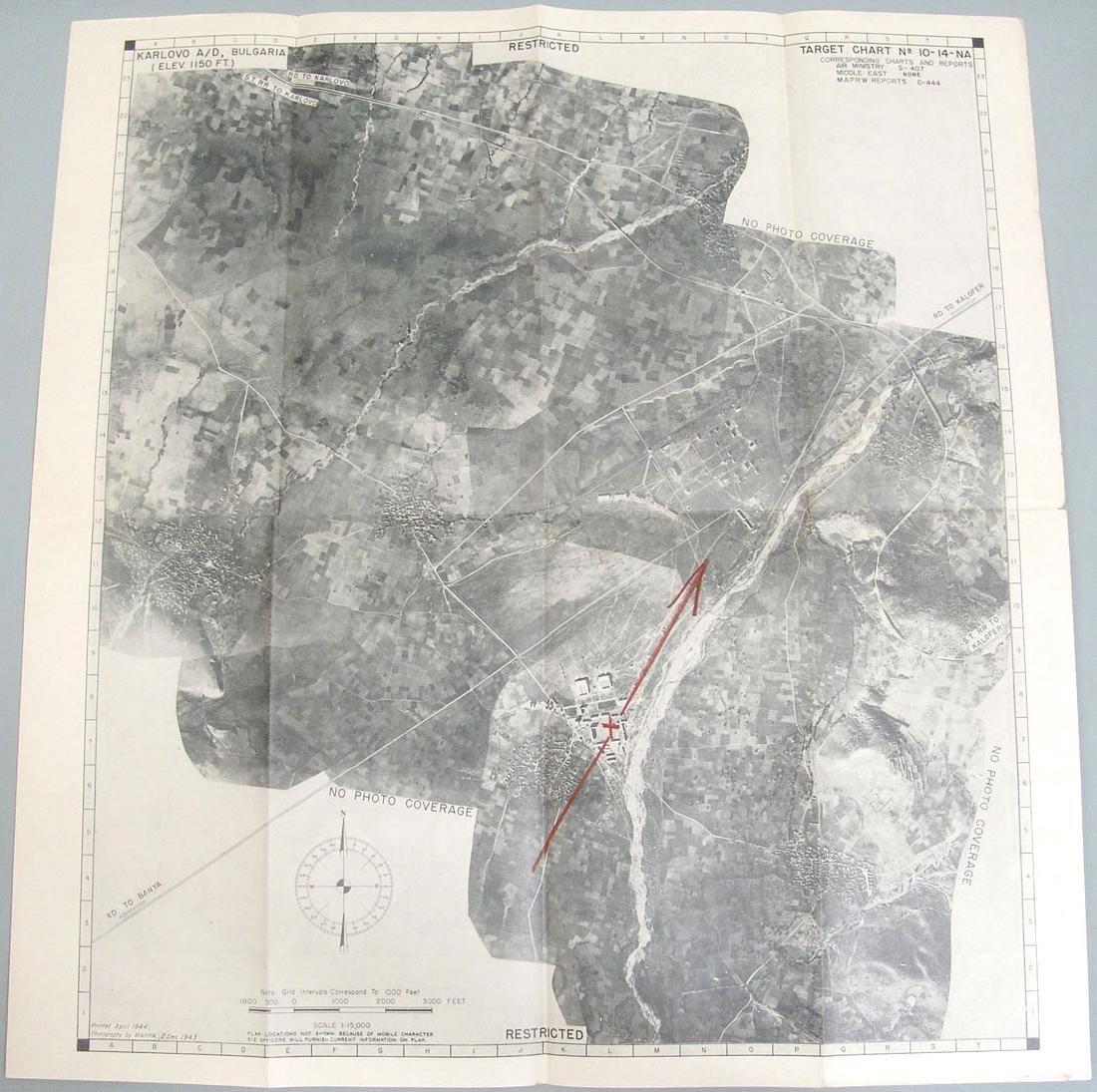 Original 1944 WWII Allied Bombing Map - Bulgaria - 2