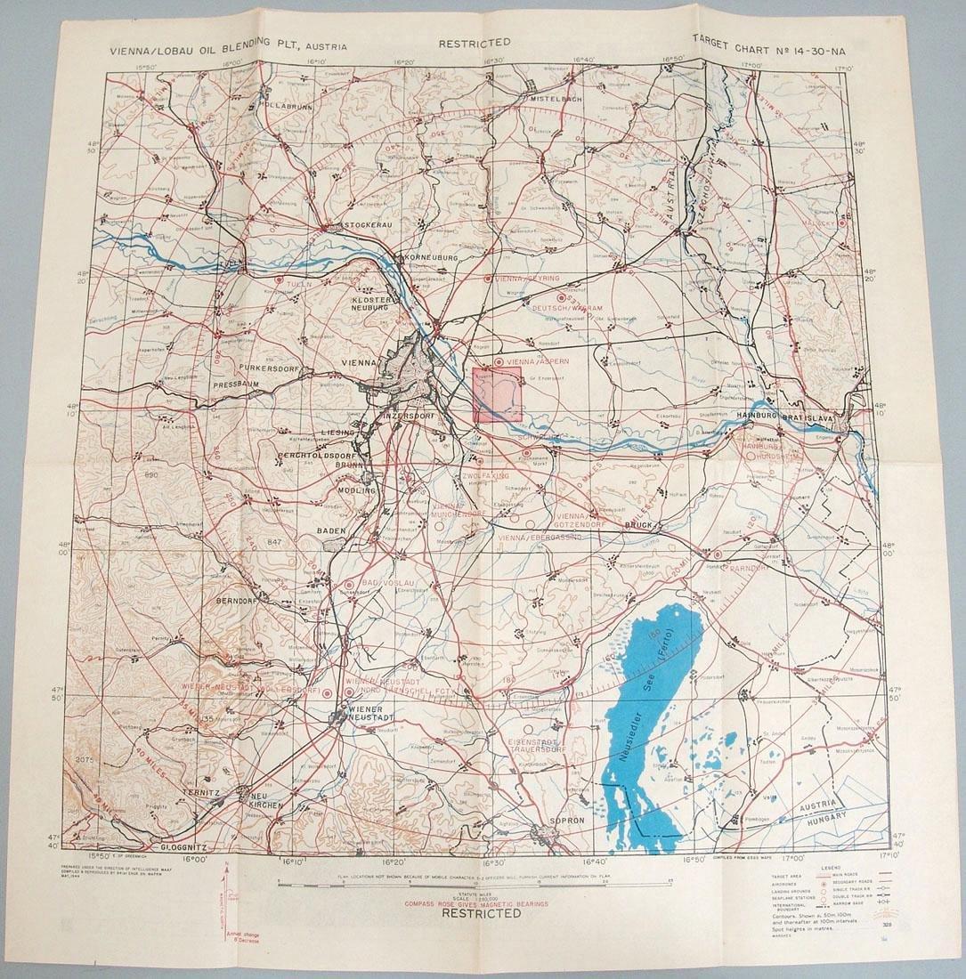 Original 1944 WWII Allied Bombing Map - Austria
