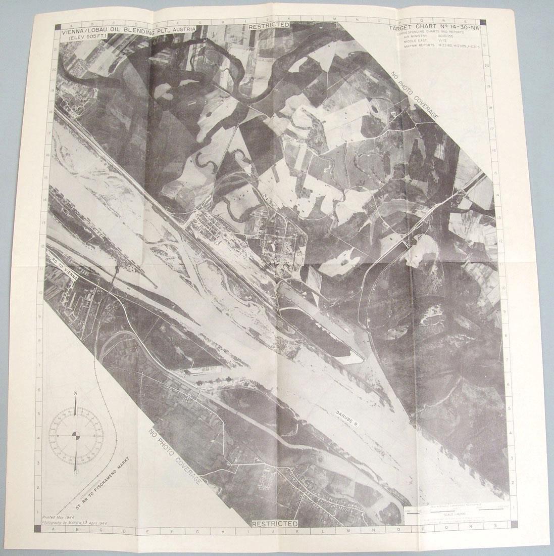 Original 1944 WWII Allied Bombing Map - Austria - 2