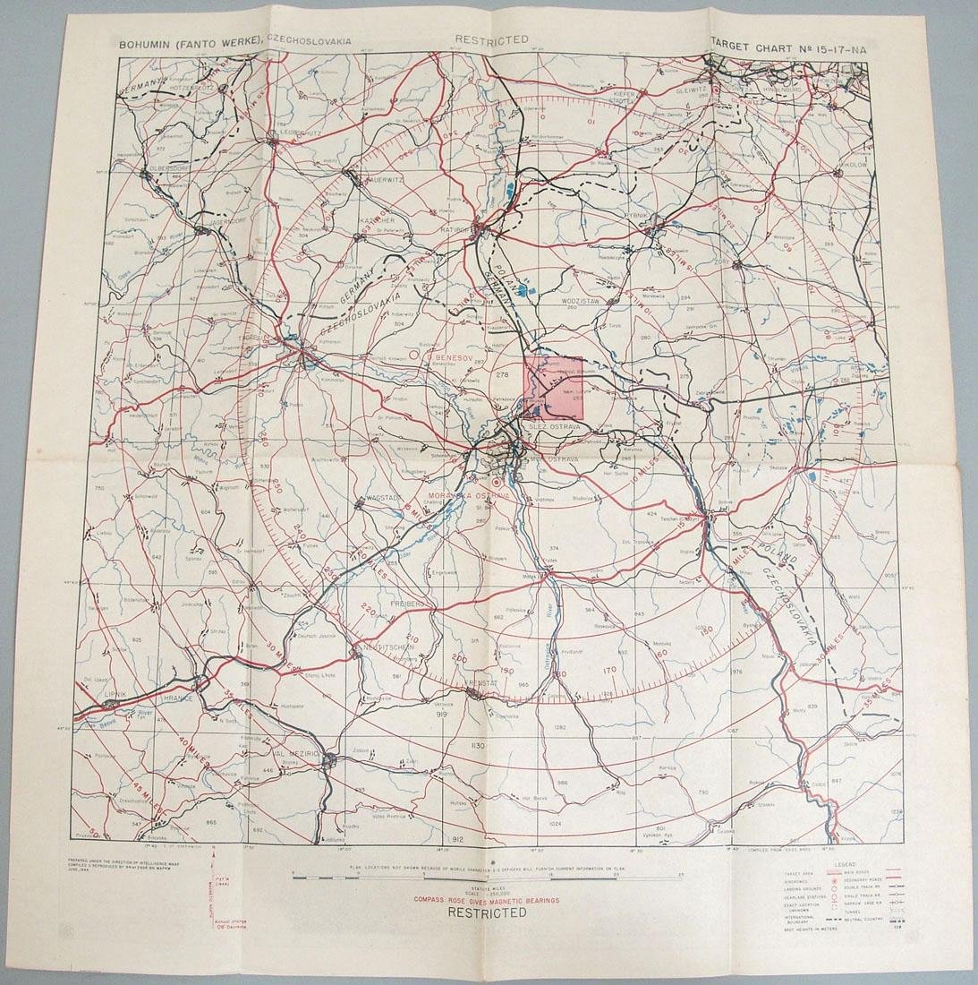 1944 WWII USAAF Europe Bombing Map - Czechoslovakia