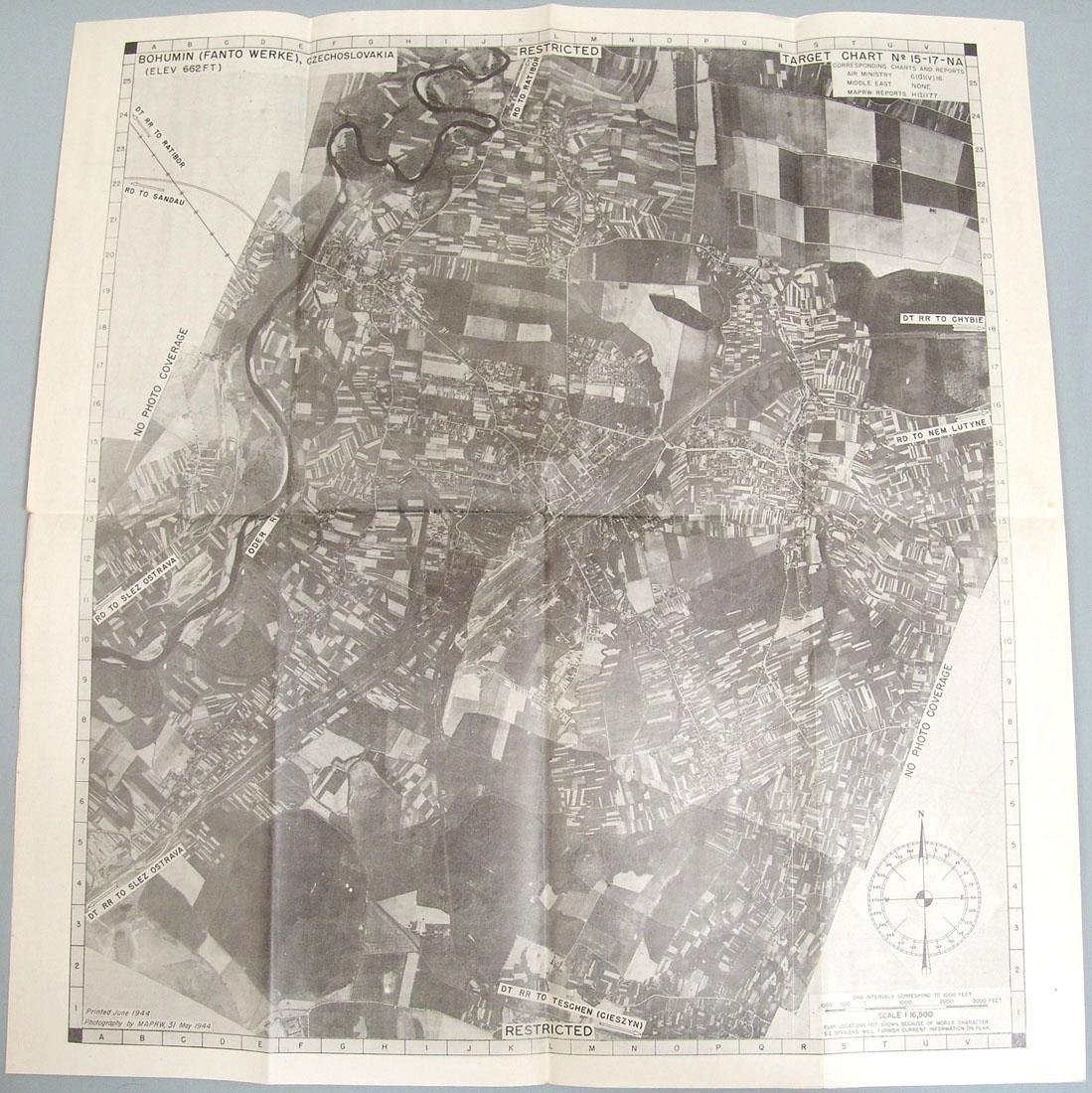 1944 WWII USAAF Europe Bombing Map - Czechoslovakia - 2