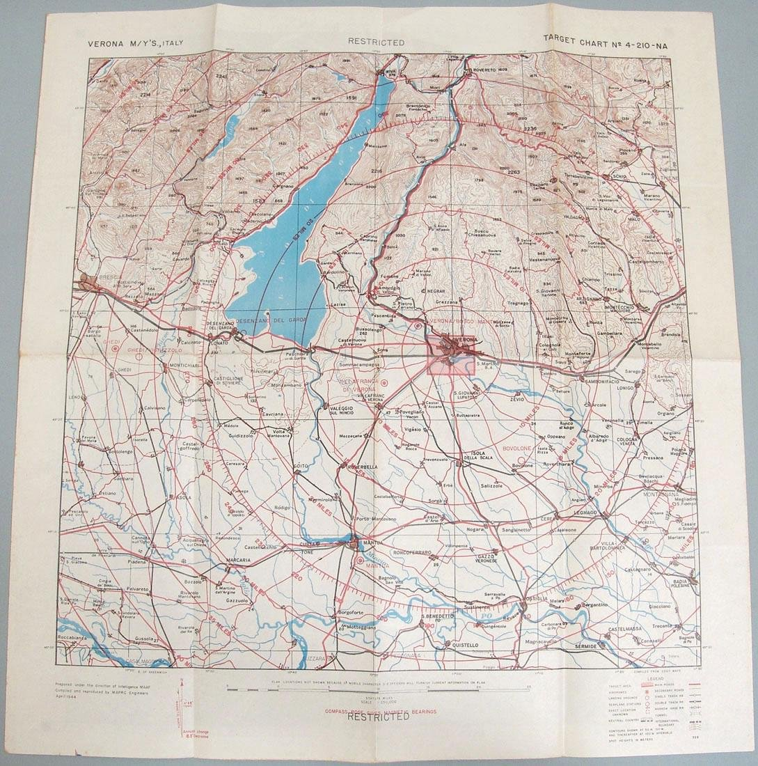 Original 1944 WWII Allied Air Crew Bombing Map - Italy