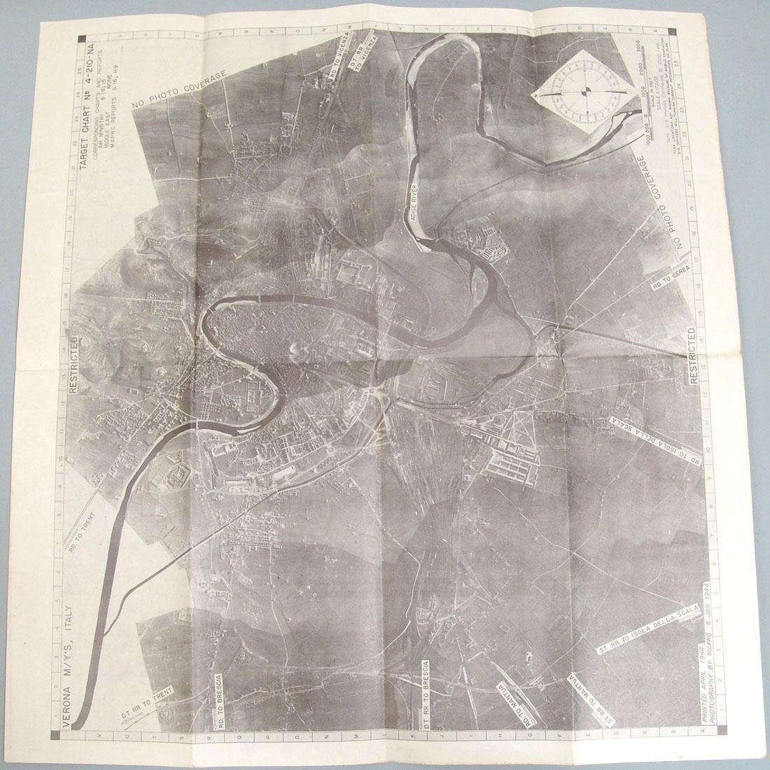 Original 1944 WWII Allied Air Crew Bombing Map - Italy - 2