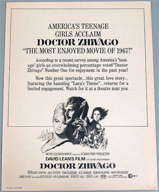 Vintage Ad For Movie Doctor Zhivago