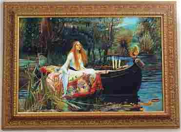 "Large Original Oil Painting ""Lady of Shalott"" - Framed"