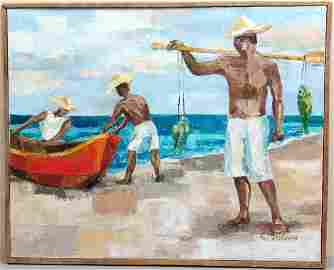 Old Framed Morris Oil Painting - Fishermen in Colombia