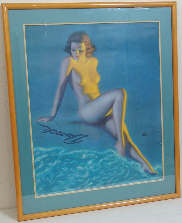 Framed Vintage Nude Pin-Up by Earl Moran